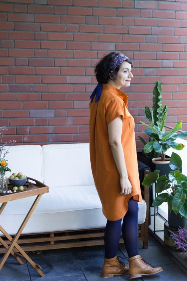 Selmin wearing the Kalle Shirtdress from Closet Case patterns.
