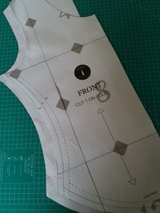 Transfer markings to front piece