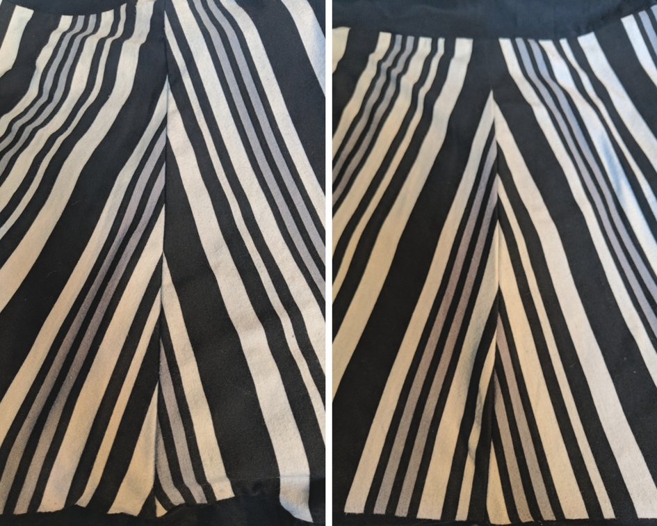 Left - trying to match the large black stripe.Right - not even trying...