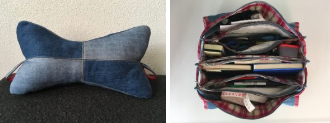 neck pillow, sewing bag made of a discarded jeans