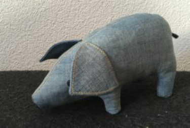 pig made of a discarded jeans