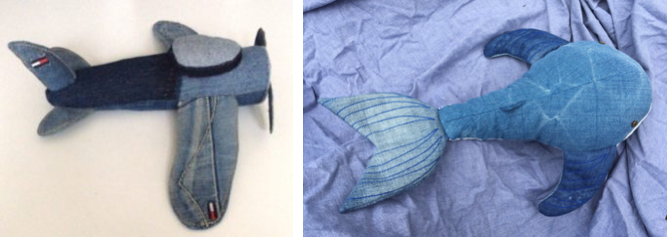 airplane toy, blue whale made of old jeans