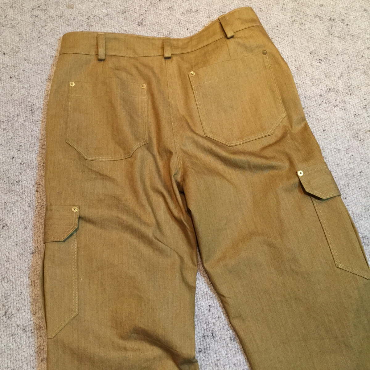 front flat lay of tan cargo pants