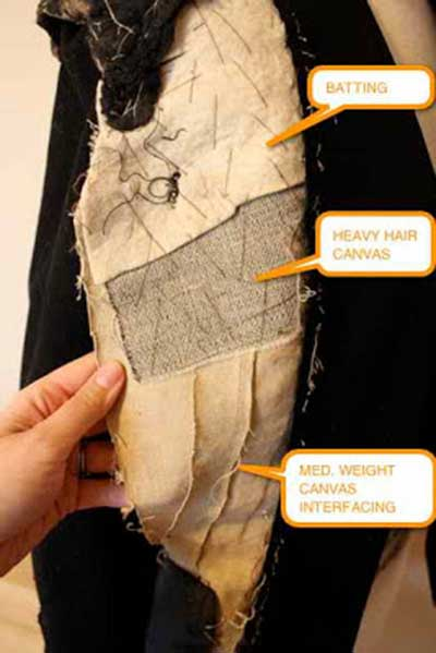 Picture of an old jacket that has been unpicked to show the canvas and batting inside
